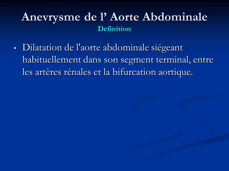 Anevrysme de l Aorte Abdominale Definition Dilatation de l aorte abdominale siégeant habituellement dans son segment terminal, entre les artères rénales et la bifurcation aortique.