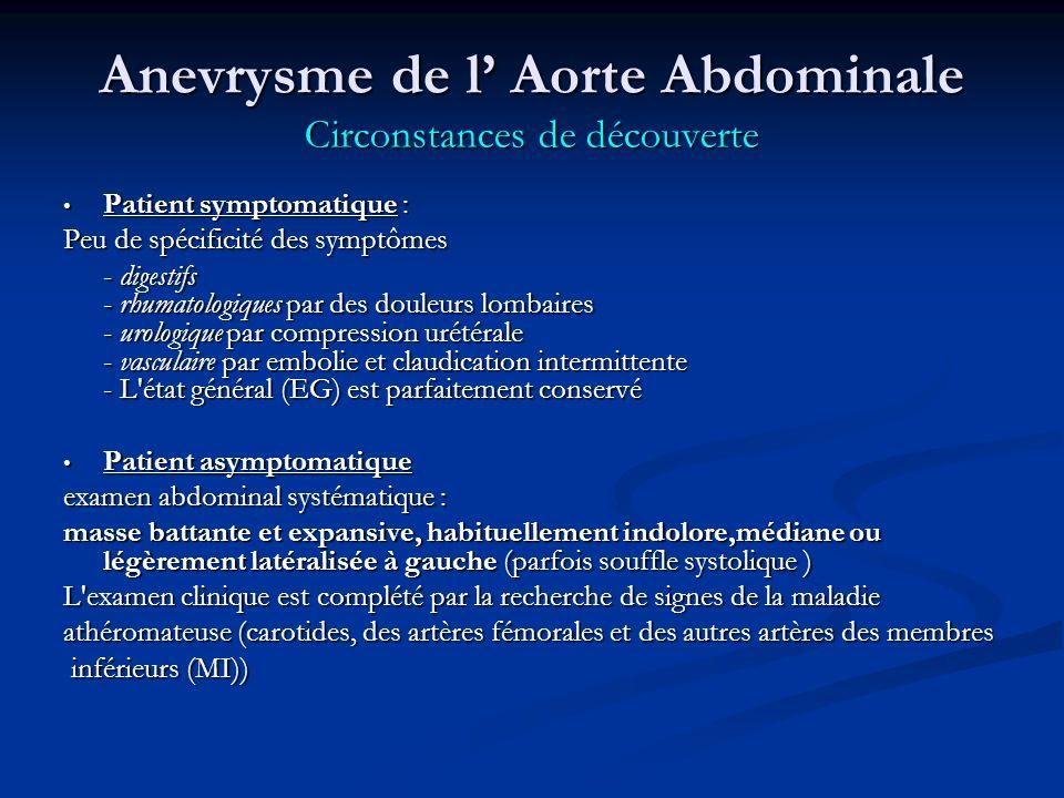 Anevrysme de l Aorte Abdominale Circonstances de découverte Patient symptomatique : Patient symptomatique : Peu de spécificité des symptômes - digestifs - rhumatologiques par des douleurs lombaires - urologique par compression urétérale - vasculaire par embolie et claudication intermittente - L état général (EG) est parfaitement conservé Patient asymptomatique Patient asymptomatique examen abdominal systématique : masse battante et expansive, habituellement indolore,médiane ou légèrement latéralisée à gauche (parfois souffle systolique ) L examen clinique est complété par la recherche de signes de la maladie athéromateuse (carotides, des artères fémorales et des autres artères des membres inférieurs (MI)) inférieurs (MI))