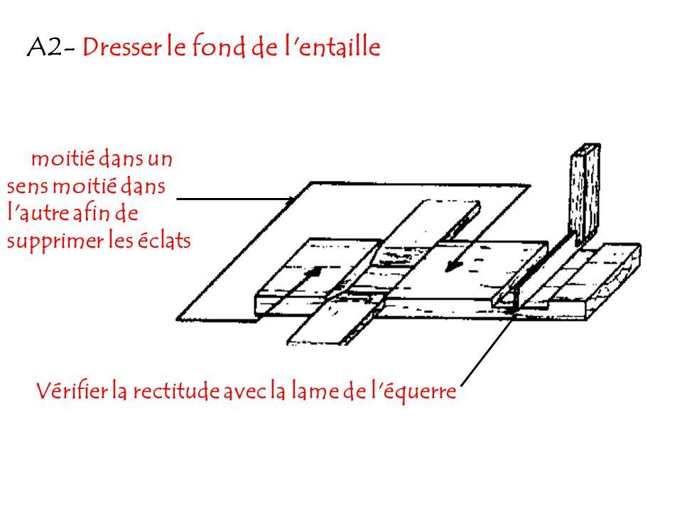 A2- Dresser le fond de l'entaille moitié dans un sens moitié dans l'autre afin de supprimer les éclats Vérifier la rectitude avec la lame de l'équerre