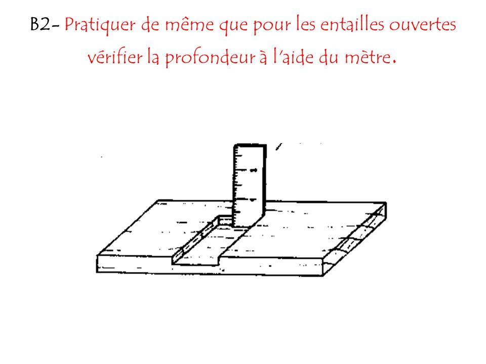 B2- Pratiquer de même que pour les entailles ouvertes vérifier la profondeur à l'aide du mètre.