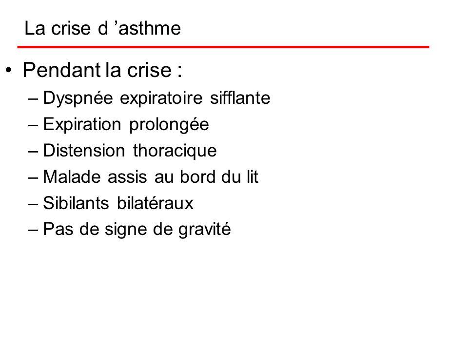 Formes cliniques Dans certains asthmes, une dyspnée (difficulté à respirer) peut persister entre les crises (asthme à dyspnée continue) Une toux sèche