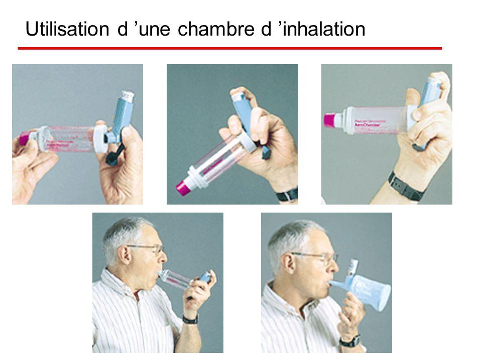 Chambres d inhalation Réservoir en plastique qui retient le médicament volatilisé Evite les problèmes créés lors de l'utilisation de l'aérosol- doseur