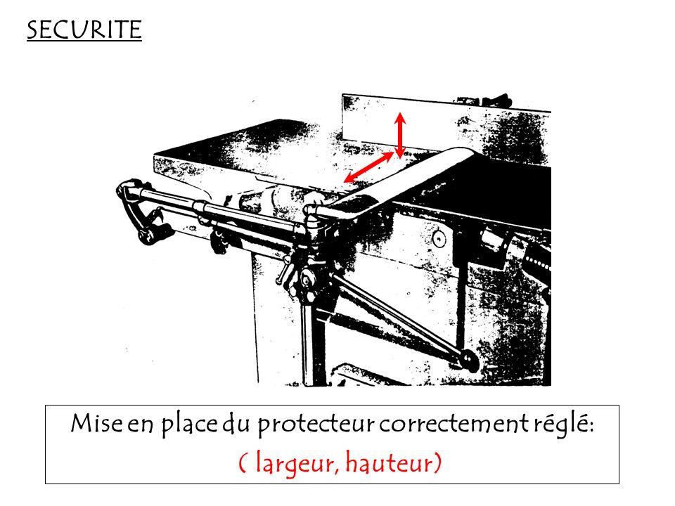 SECURITE Mise en place du protecteur correctement réglé: ( largeur,hauteur)