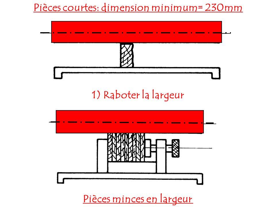 2) Raboter l épaisseur Pièces longues: servante de support Pièces minces en épaisseur, utilisation d une table auxiliaire.