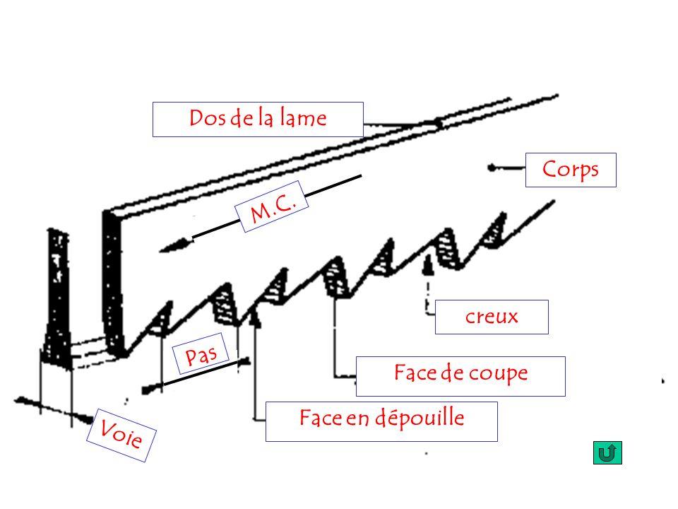Corps Dos de la lame M.C. creux Face de coupe Face en dépouille Pas Voie