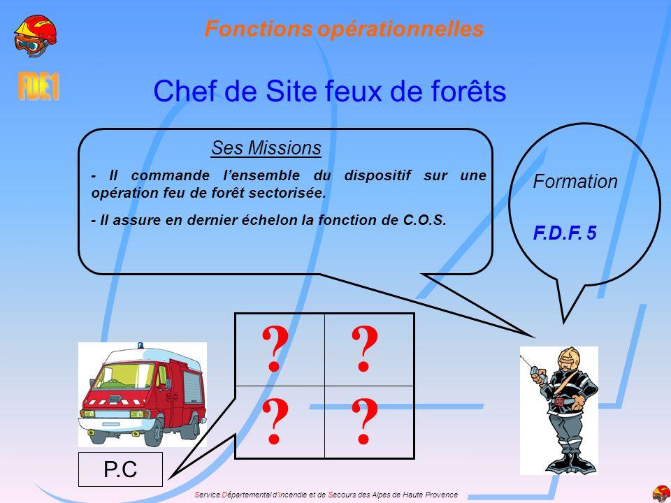 Service Départemental dIncendie et de Secours des Alpes de Haute Provence Fonctions opérationnelles Chef de Site feux de forêts Formation F.D.F. 5 Ses