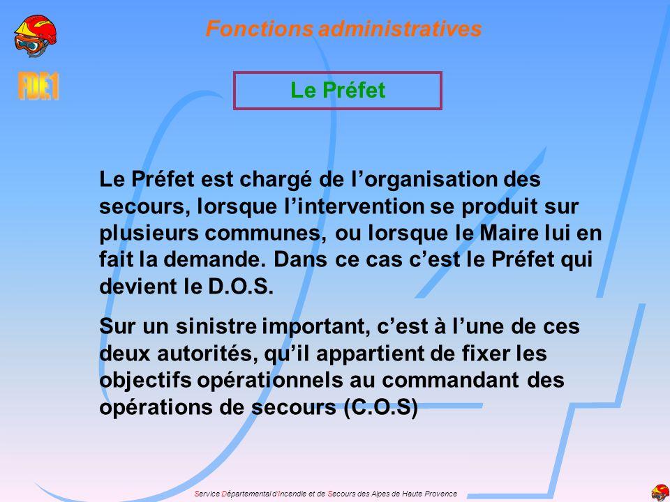 Service Départemental dIncendie et de Secours des Alpes de Haute Provence Fonctions administratives Le Préfet est chargé de lorganisation des secours,