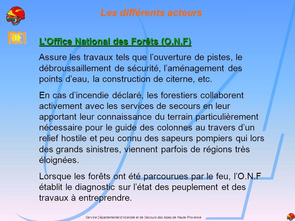 Les différents acteurs LOffice National des Forêts (O.N.F) Assure les travaux tels que louverture de pistes, le débroussaillement de sécurité, laménag
