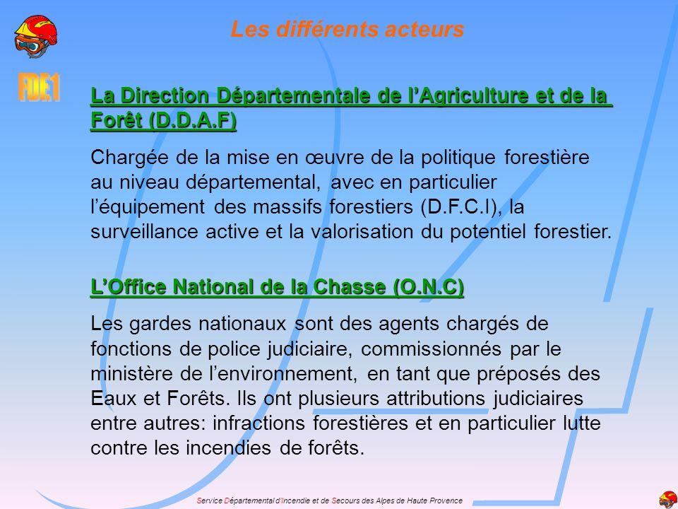 Service Départemental dIncendie et de Secours des Alpes de Haute Provence Les différents acteurs La Direction Départementale de lAgriculture et de la