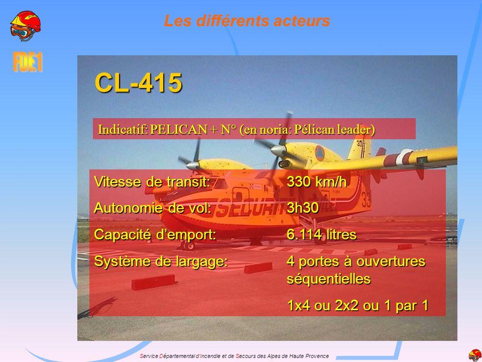 Service Départemental dIncendie et de Secours des Alpes de Haute Provence Les différents acteurs CL-415 Indicatif: PELICAN + N° (en noria: Pélican lea