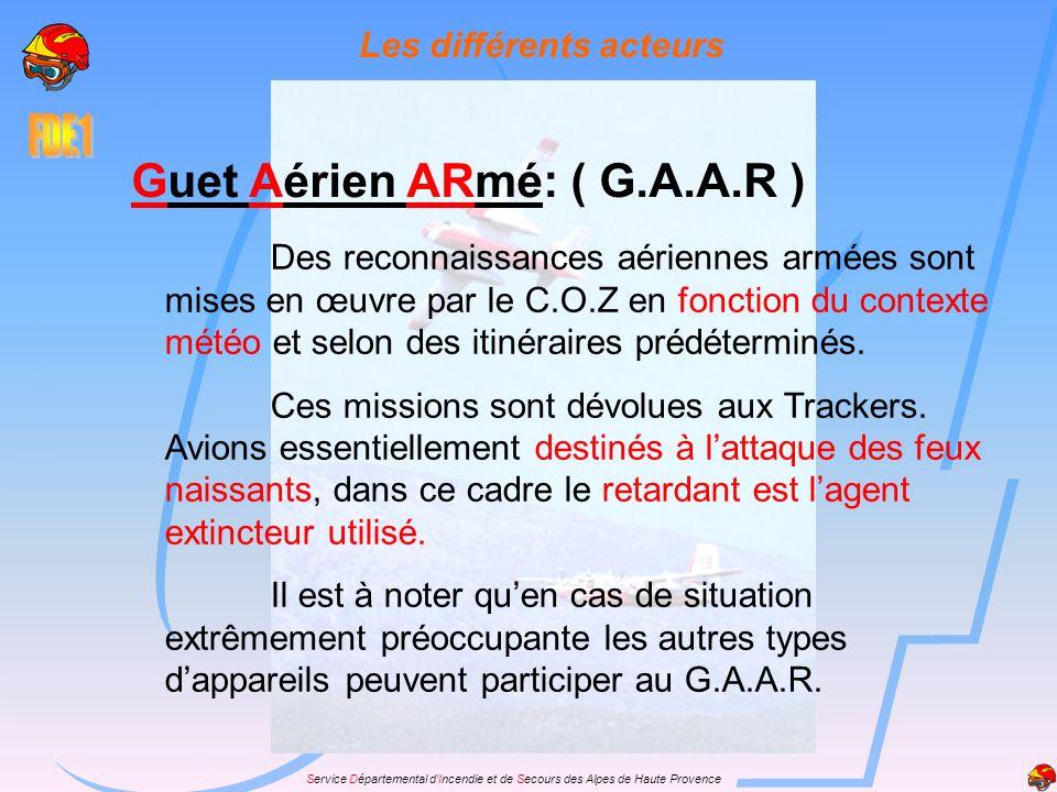 Service Départemental dIncendie et de Secours des Alpes de Haute Provence Les différents acteurs Guet Aérien ARmé: ( G.A.A.R ) Des reconnaissances aér