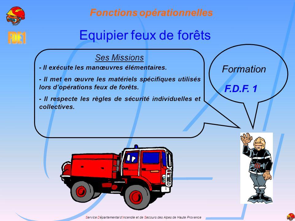 Fonctions opérationnelles - Il exécute les manœuvres élémentaires. - Il met en œuvre les matériels spécifiques utilisés lors dopérations feux de forêt