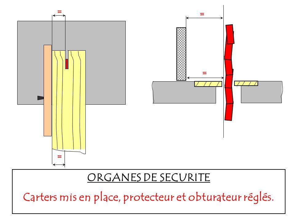 = = = = = = = ORGANES DE SECURITE Carters mis en place, protecteur et obturateur réglés.