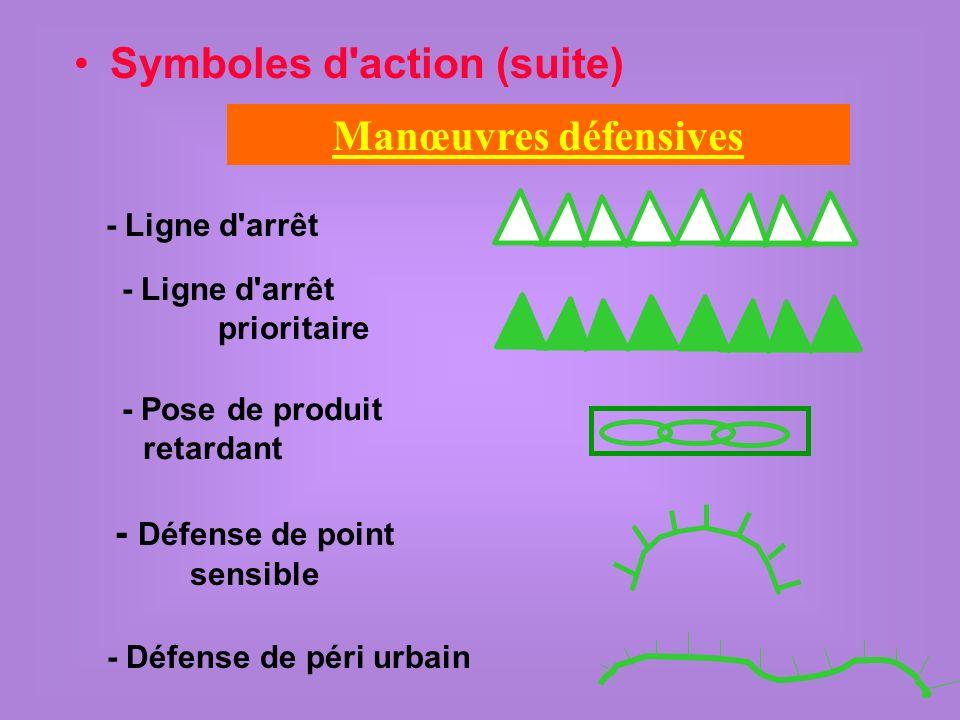 Symboles d action (suite) Manœuvres défensives - Ligne d arrêt - Ligne d arrêt prioritaire - Pose de produit retardant - Défense de point sensible - Défense de péri urbain