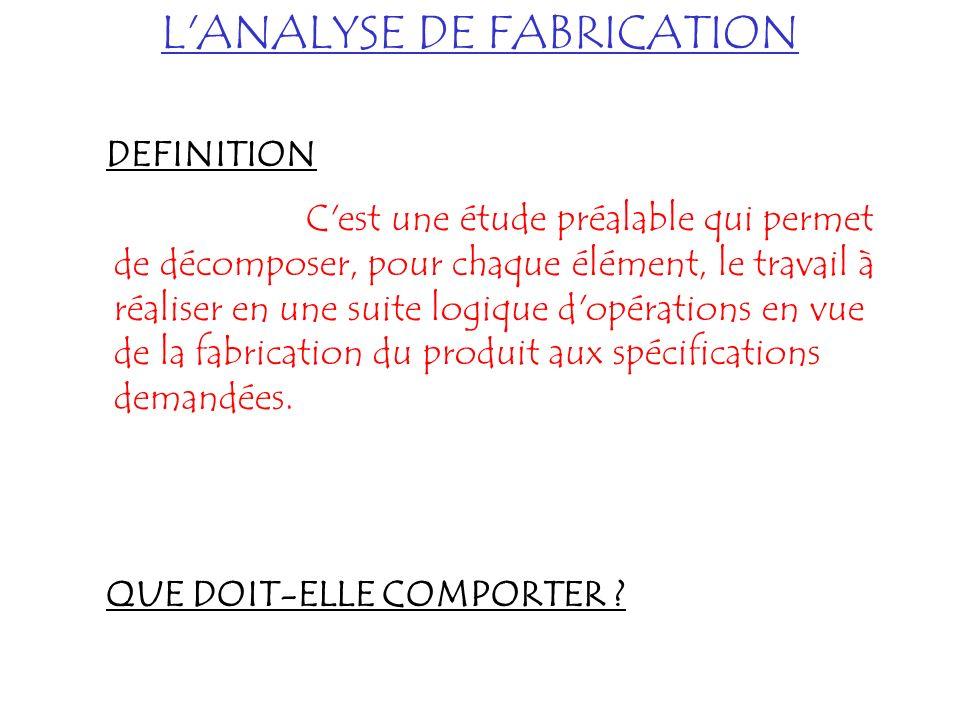 L'ANALYSE DE FABRICATION DEFINITION C'est une étude préalable qui permet de décomposer, pour chaque élément, le travail à réaliser en une suite logiqu