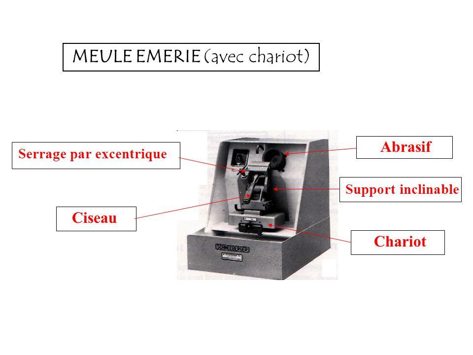 MEULE EMERIE (avec chariot) Serrage par excentrique Ciseau Abrasif Support inclinable Chariot