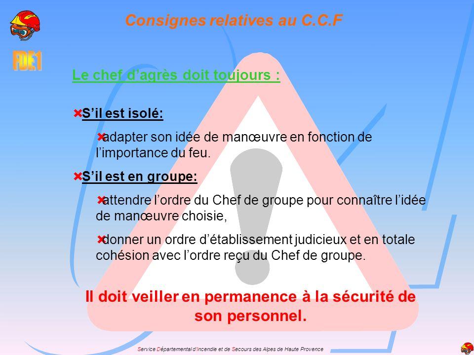Service Départemental dIncendie et de Secours des Alpes de Haute Provence Consignes relatives au C.C.F Sil est isolé: adapter son idée de manœuvre en fonction de limportance du feu.