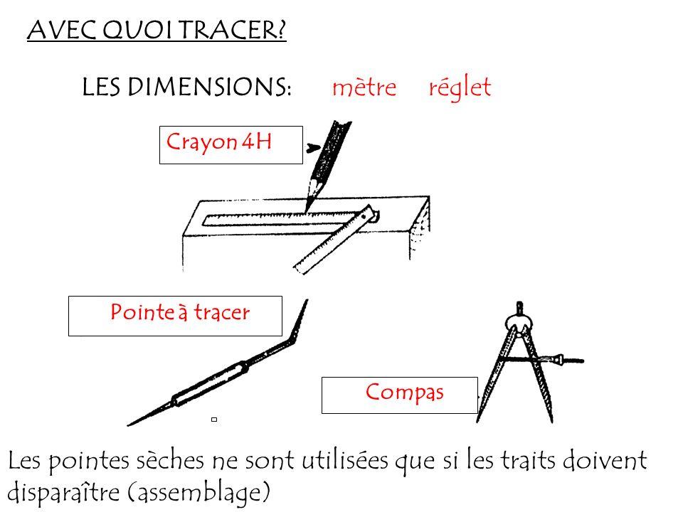 AVEC QUOI TRACER? Crayon 4H mètre Pointe à tracer Compas LES DIMENSIONS: Les pointes sèches ne sont utilisées que si les traits doivent disparaître (a