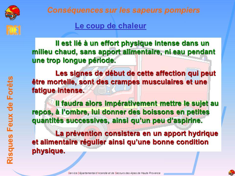 Service Départemental dIncendie et de Secours des Alpes de Haute Provence Le coup de chaleur Risques Feux de Forêts Conséquences sur les sapeurs pompi