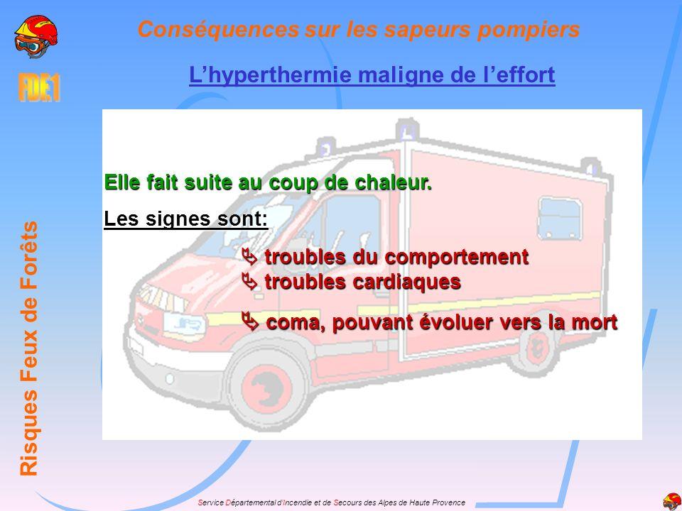 Service Départemental dIncendie et de Secours des Alpes de Haute Provence Lhyperthermie maligne de leffort Risques Feux de Forêts Conséquences sur les