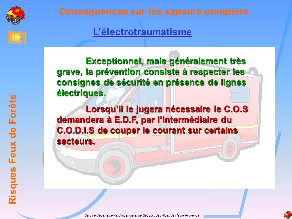 Service Départemental dIncendie et de Secours des Alpes de Haute Provence Lélectrotraumatisme Risques Feux de Forêts Conséquences sur les sapeurs pomp