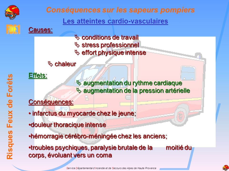 Service Départemental dIncendie et de Secours des Alpes de Haute Provence Conséquences sur les sapeurs pompiers Risques Feux de Forêts Les atteintes c
