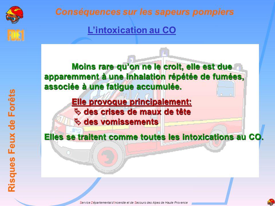 Service Départemental dIncendie et de Secours des Alpes de Haute Provence Conséquences sur les sapeurs pompiers Risques Feux de Forêts Lintoxication a