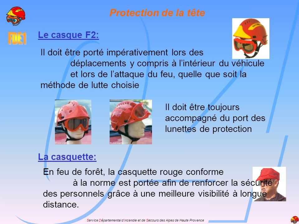 Protection de la tête Le casque F2: Il doit être porté impérativement lors des déplacements y compris à lintérieur du véhicule et lors de lattaque du