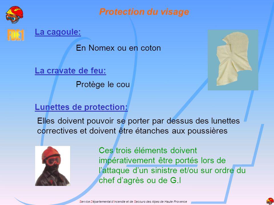 Service Départemental dIncendie et de Secours des Alpes de Haute Provence Protection du visage La cagoule: En Nomex ou en coton Lunettes de protection