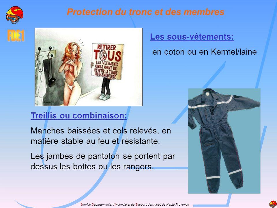 Service Départemental dIncendie et de Secours des Alpes de Haute Provence Protection du tronc et des membres Les sous-vêtements: en coton ou en Kermel
