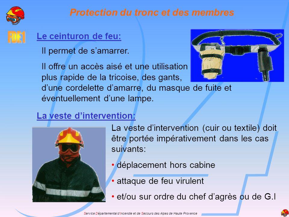 Service Départemental dIncendie et de Secours des Alpes de Haute Provence Protection du tronc et des membres Le ceinturon de feu: Il permet de samarre
