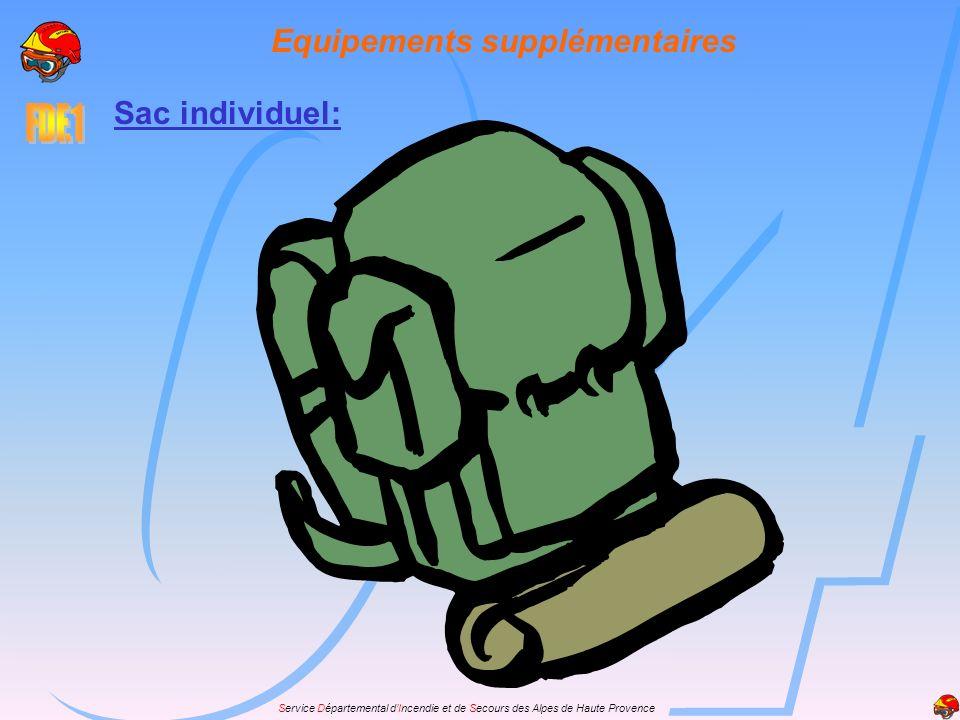Service Départemental dIncendie et de Secours des Alpes de Haute Provence Equipements supplémentaires Sac individuel: On doit y trouver: vêtements de rechange duvet duvet accessoires de toilette accessoires de toilette premiers secours premiers secours boissons individuelles boissons individuelles