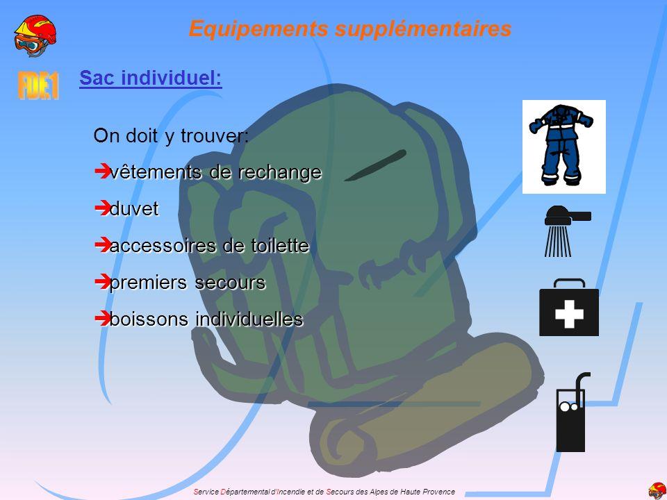 Service Départemental dIncendie et de Secours des Alpes de Haute Provence Equipements supplémentaires Sac individuel: On doit y trouver: vêtements de