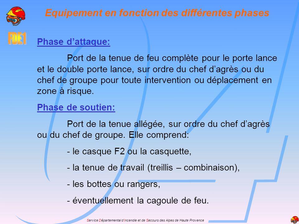 Service Départemental dIncendie et de Secours des Alpes de Haute Provence Phase dattaque: Port de la tenue de feu complète pour le porte lance et le d