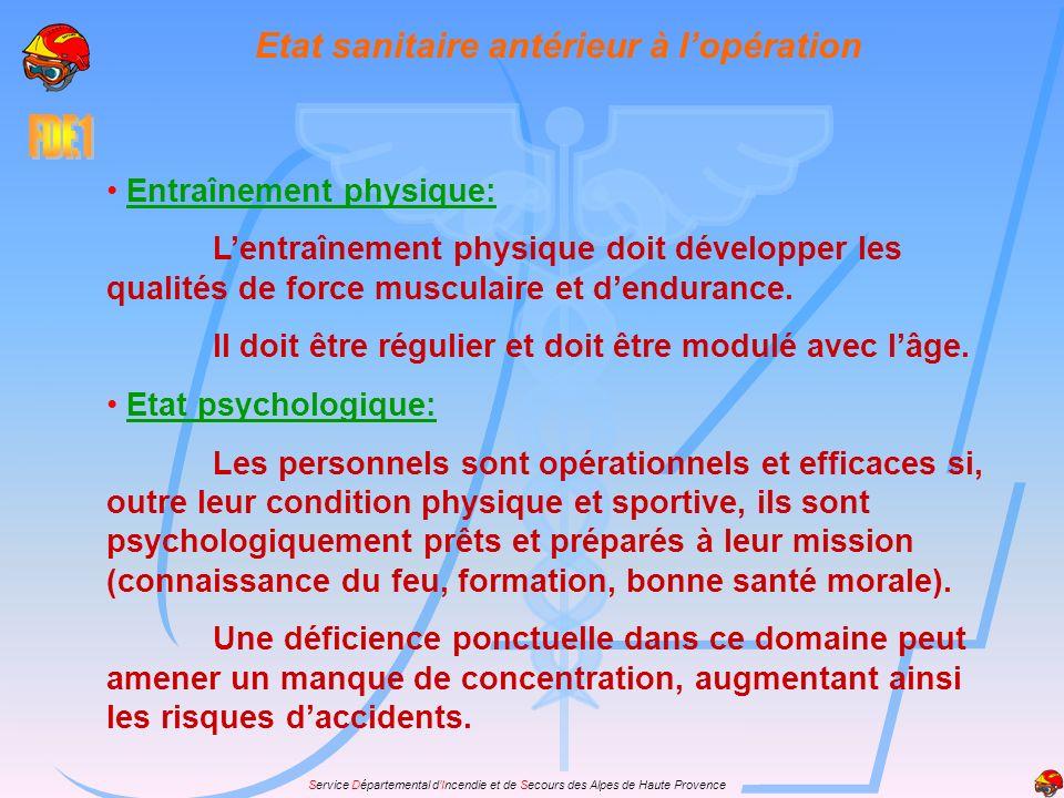 Service Départemental dIncendie et de Secours des Alpes de Haute Provence Etat sanitaire antérieur à lopération Entraînement physique: Lentraînement p