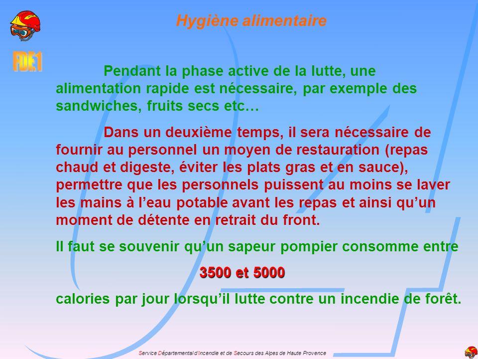 Service Départemental dIncendie et de Secours des Alpes de Haute Provence Hygiène alimentaire Pendant la phase active de la lutte, une alimentation ra