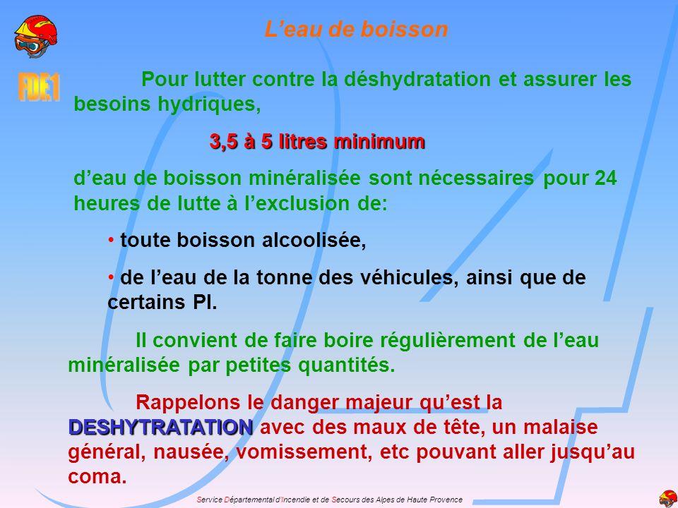 Service Départemental dIncendie et de Secours des Alpes de Haute Provence Leau de boisson Pour lutter contre la déshydratation et assurer les besoins