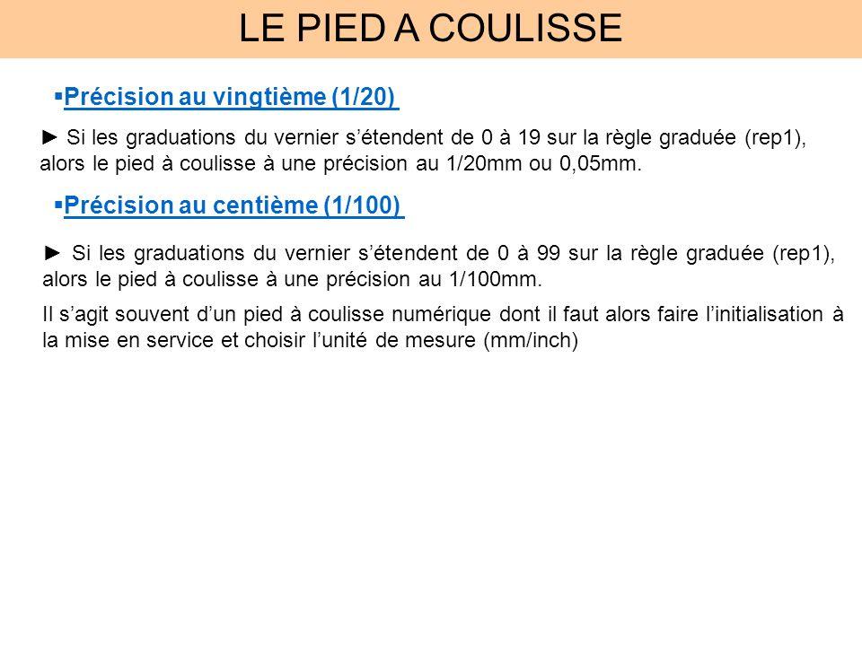 LE PIED A COULISSE Si les graduations du vernier sétendent de 0 à 19 sur la règle graduée (rep1), alors le pied à coulisse à une précision au 1/20mm ou 0,05mm.