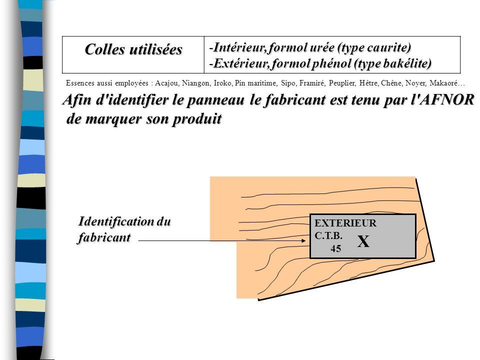 B) COLLAGE ET MARQUE DE QUALITE NFB-54-154 TYPE LABE L ESSENCEEMPLOI Contreplaqué standard C.T.B. P. Okoumé, ako, ayous, pin… Intérieur Contreplaqué p