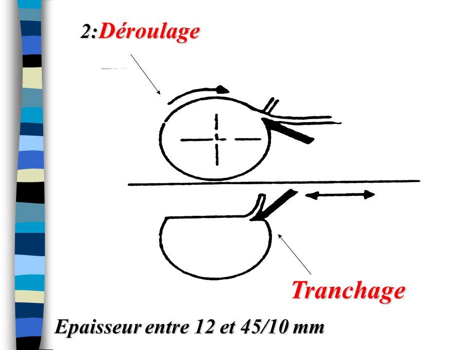 2: Déroulage Tranchage Epaisseur entre 12 et 45/10 mm