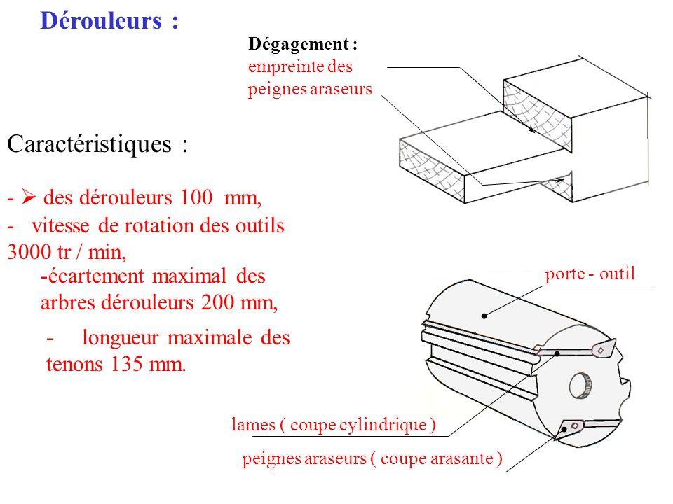 Dérouleurs : Caractéristiques : - des dérouleurs 100 mm, - vitesse de rotation des outils 3000 tr / min, -écartement maximal des arbres dérouleurs 200