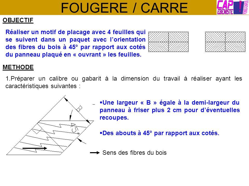 FOUGERE / CARRE OBJECTIF Réaliser un motif de placage avec 4 feuilles qui se suivent dans un paquet avec lorientation des fibres du bois à 45° par rap