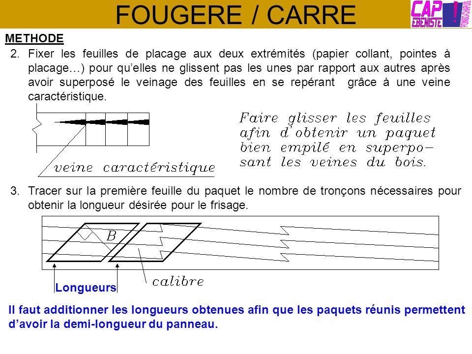 FOUGERE / CARRE METHODE 2.Fixer les feuilles de placage aux deux extrémités (papier collant, pointes à placage…) pour quelles ne glissent pas les unes