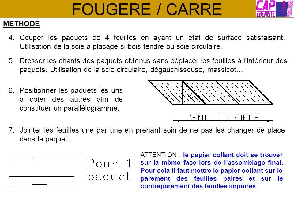 FOUGERE / CARRE METHODE 4.Couper les paquets de 4 feuilles en ayant un état de surface satisfaisant. Utilisation de la scie à placage si bois tendre o