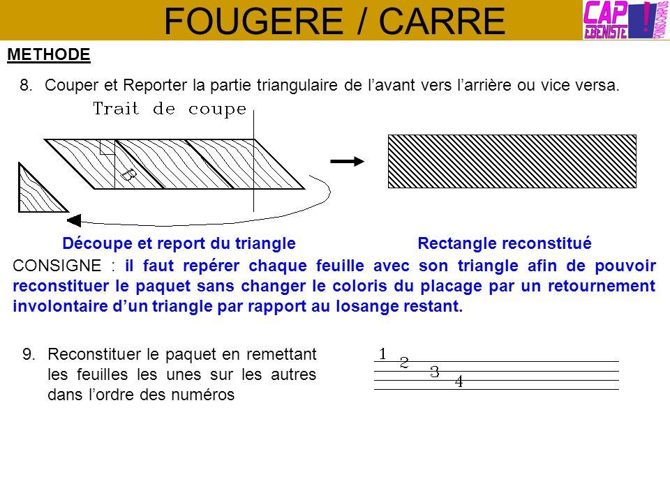FOUGERE / CARRE METHODE 8.Couper et Reporter la partie triangulaire de lavant vers larrière ou vice versa. Découpe et report du triangleRectangle reco