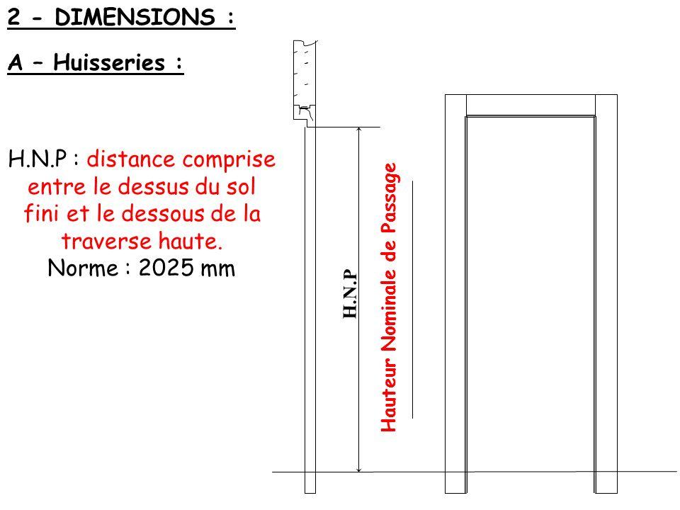 2 - DIMENSIONS : A – Huisseries : H.N.P H.N.P : distance comprise entre le dessus du sol fini et le dessous de la traverse haute. Norme : 2025 mm Haut
