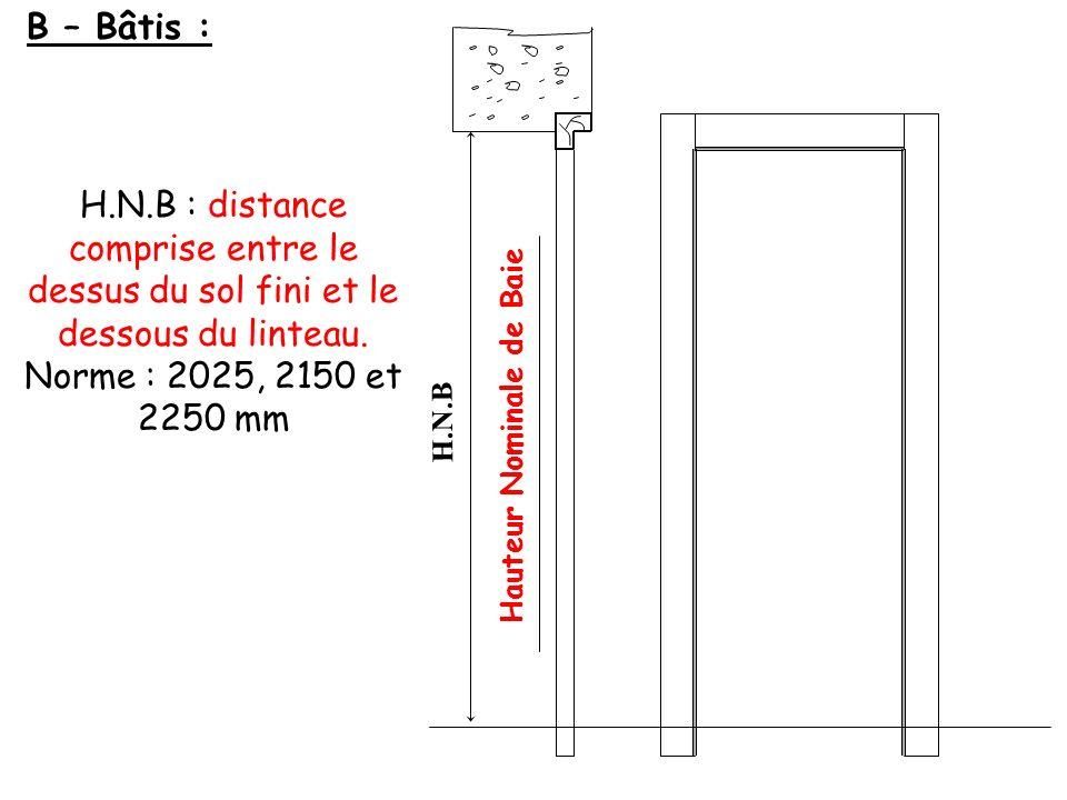 H.N.B B – Bâtis : H.N.B : distance comprise entre le dessus du sol fini et le dessous du linteau. Norme : 2025, 2150 et 2250 mm Hauteur Nominale de Ba