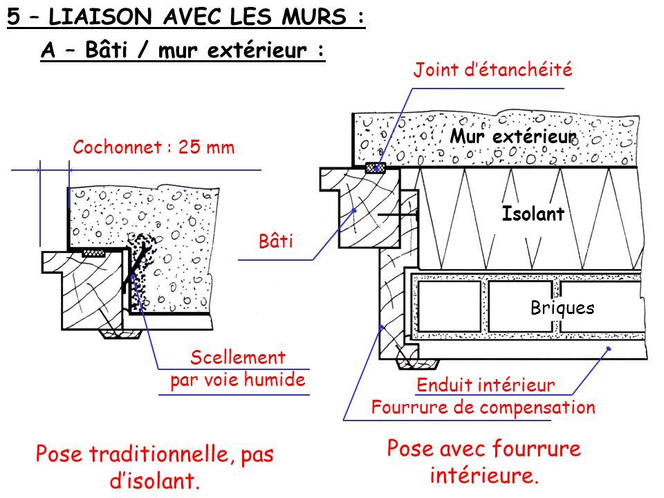 Mur extérieur Isolant Briques 5 – LIAISON AVEC LES MURS : A – Bâti / mur extérieur : Cochonnet : 25 mm Scellement par voie humide Pose traditionnelle,