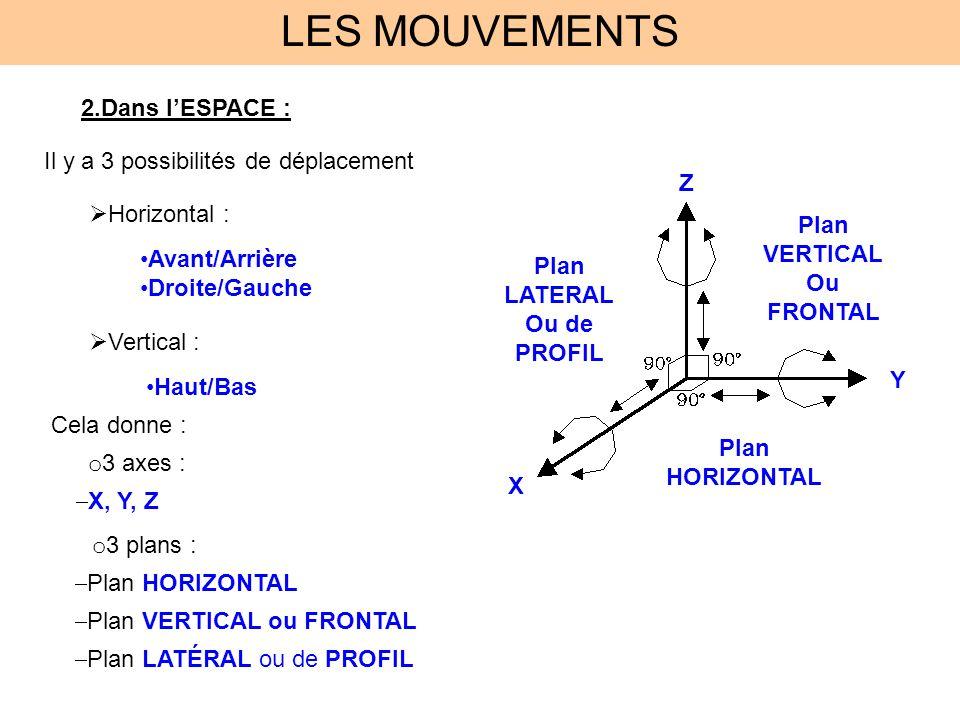 LES MOUVEMENTS 2.Dans lESPACE : Plan VERTICAL Ou FRONTAL Plan HORIZONTAL Plan LATERAL Ou de PROFIL Il y a 3 possibilités de déplacement Horizontal : A