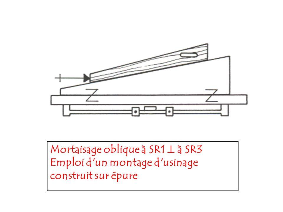 Mortaisage oblique à SR1 à SR3 Emploi d'un montage d'usinage construit sur épure